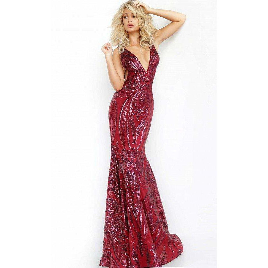 NorasBridalBoutiqueNY Low V Neck Embellished Jovani Prom Dress 3186