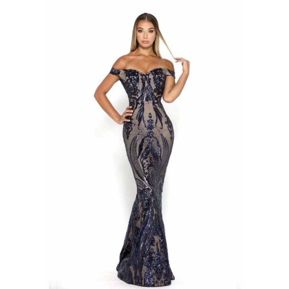 NorasBridalBoutiqueNY Navy/Nude / 12 Portia and Scarlett Navy Nude Sequin Gown