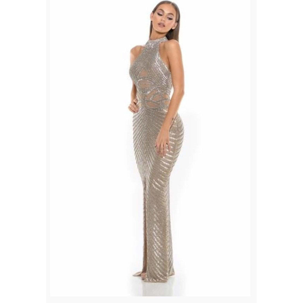 Portia and Scarlett Couture Dress Couture Beaded Gown Portia and Scarlett PS3002 Silver