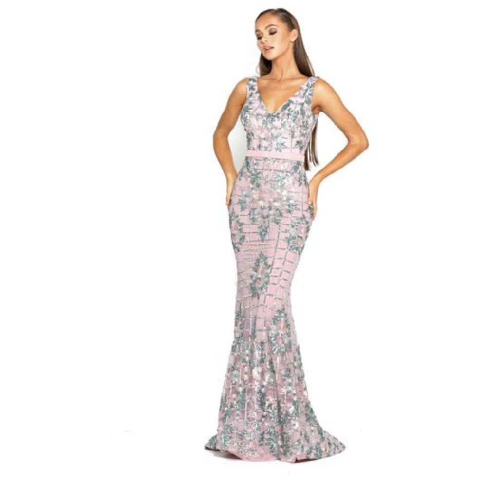Portia and Scarlett Couture Dress Gorgeous Pink/Green Floral Gown