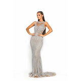 Portia and Scarlett Couture Dress PS3007 Silver Nude Couture Dress by Portia and Scarlett