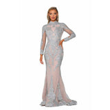 Portia and Scarlett Couture Gown PS6024 SILVER NUDE