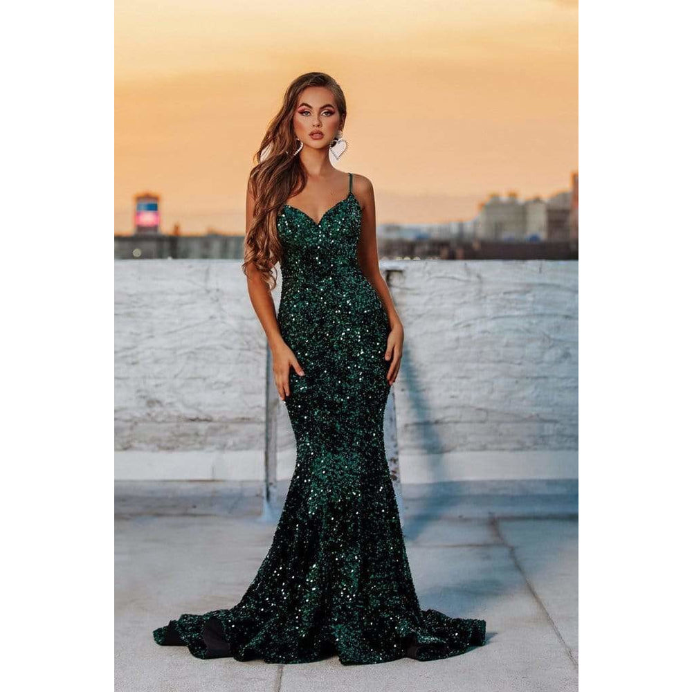 Portia and Scarlett evening dress Portia and Scarlett Evening Gown PS21030 EMERALD