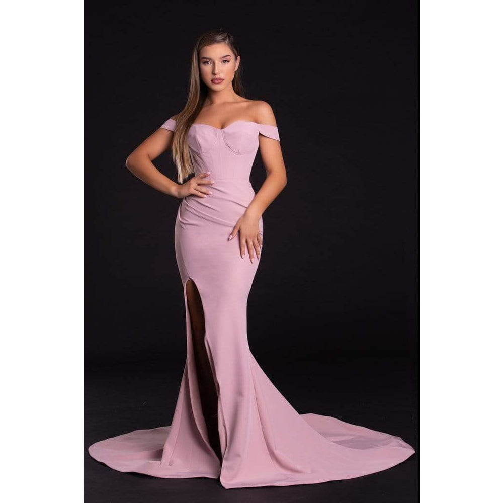 Portia and Scarlett Evening Dress PS21045 Blush Evening off the shoulders dress