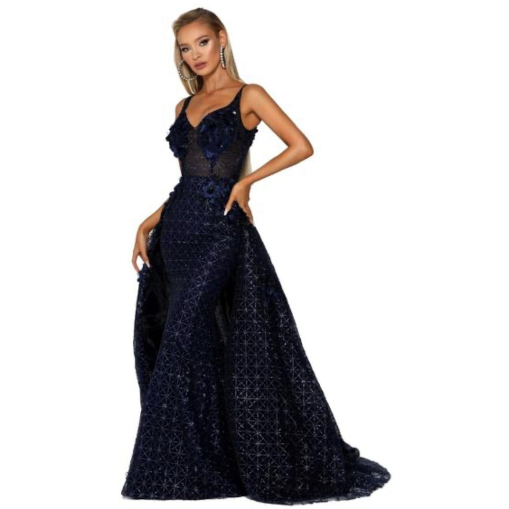 Portia and Scarlett Evening Dress PS6008s Navy Dress with skirt by Portia and Scarlett NorasBridalBoutiqueNY