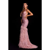 Portia and Scarlett Evening Gown PS21128 Portia and Scarlett Blush Gown by Portia and Scarlett with feathers