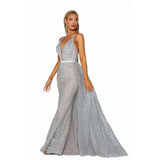 Portia and Scarlett Evening Gowns PS6027S Silver/Nude Portia and Scarlett