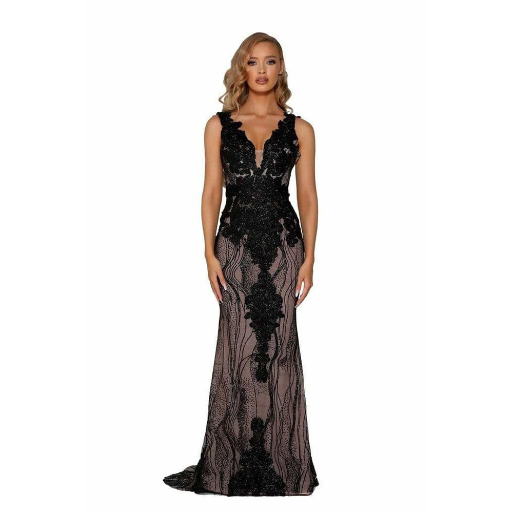 Portia and Scarlett Evening Gowns PS6082 BLACK NUDE