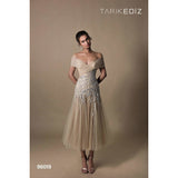 Tarik Ediz Cocktail Dress Tarik Ediz 96019 Embroidered Off Shoulder Tulle A Line Dress