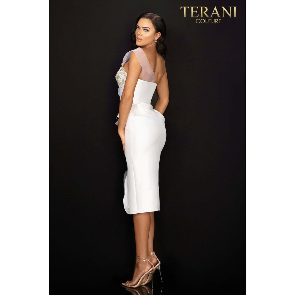 Terani Couture Cocktail Dress One shoulder cocktail dress with peplum and center slit – 2011C2020