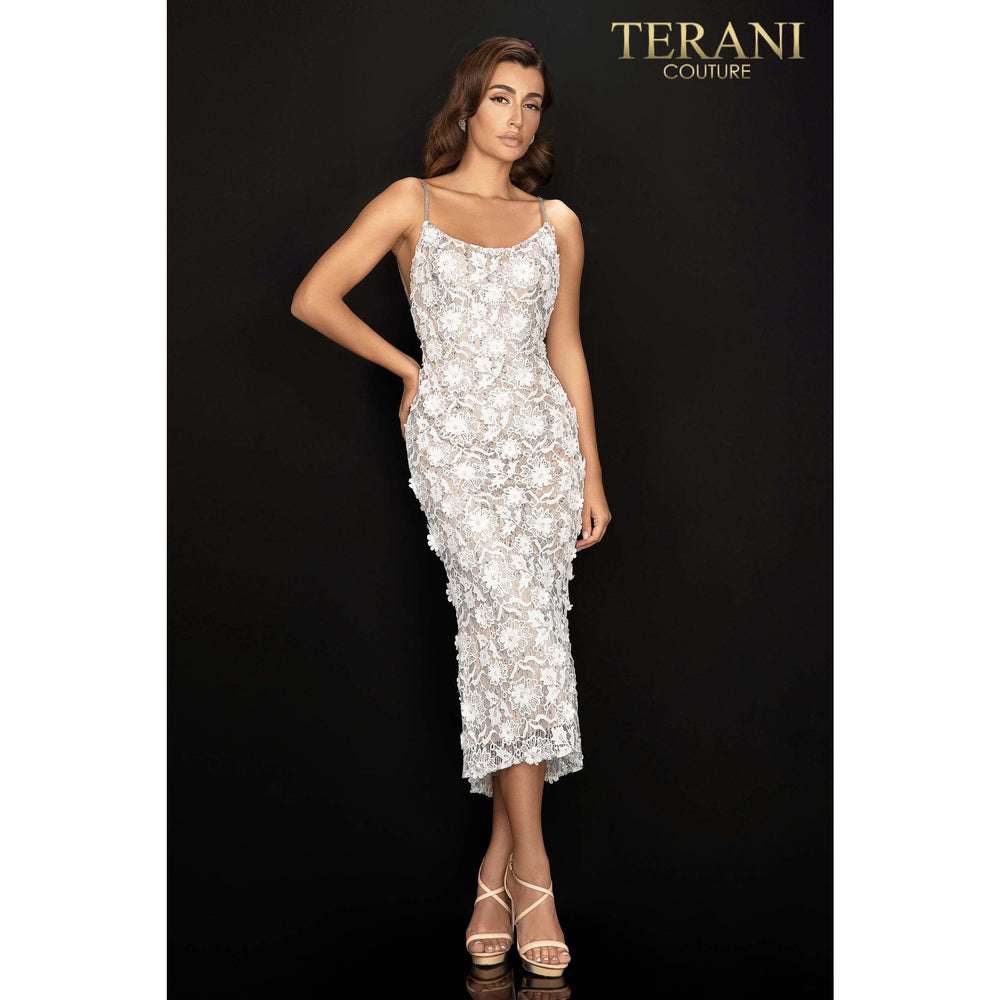 Terani Couture Cocktail Dress Terani Couture 3D floral, lace, and glitter cocktail dress with beaded straps – 2011C2013