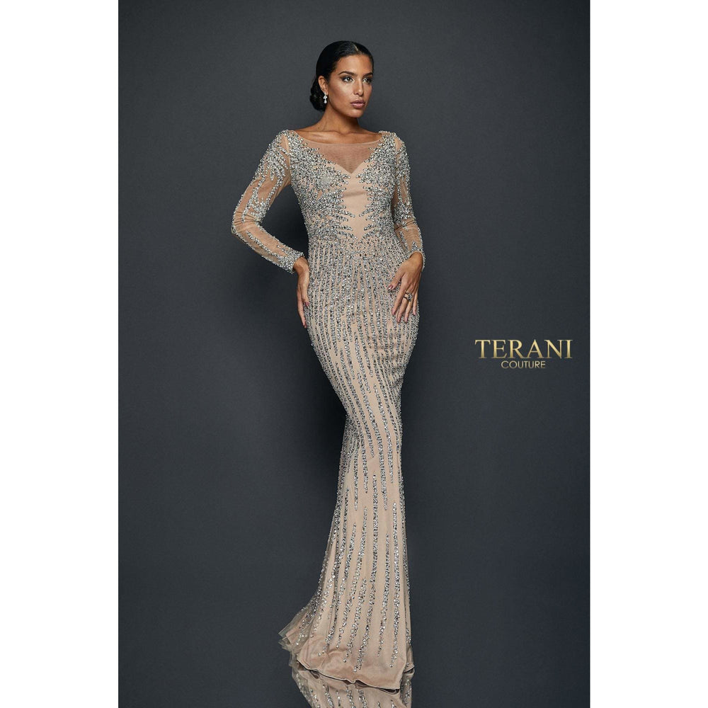 Terani Couture Couture Dress Long Sleeve Crystal Striped Illusion Gown – 1921GL0612