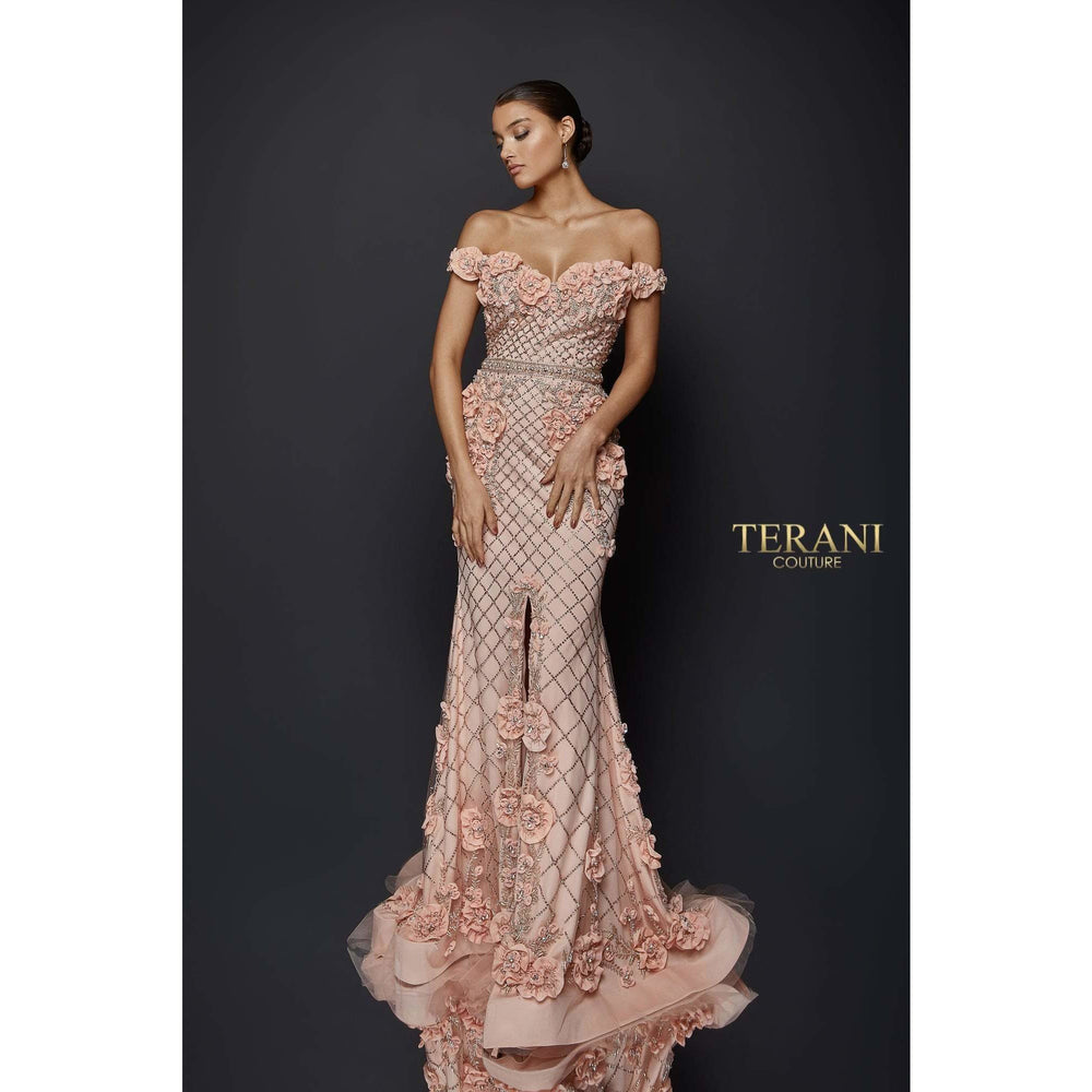 Terani Couture Couture Dress Off the Shoulder Floral Fitted Gown  1922GL0682