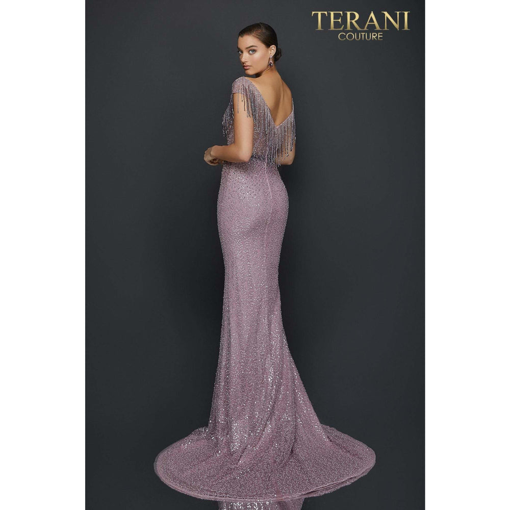 Terani Couture Couture Gown Beaded fringe ombre pageant gown with side slit – 2011GL2214
