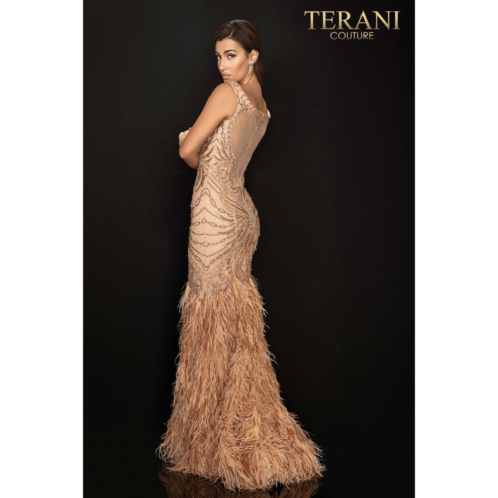 Terani Couture Dress Fully Beaded Off Shoulder Pageant Gown With Feather Trumpet Skirt - 2011GL2221