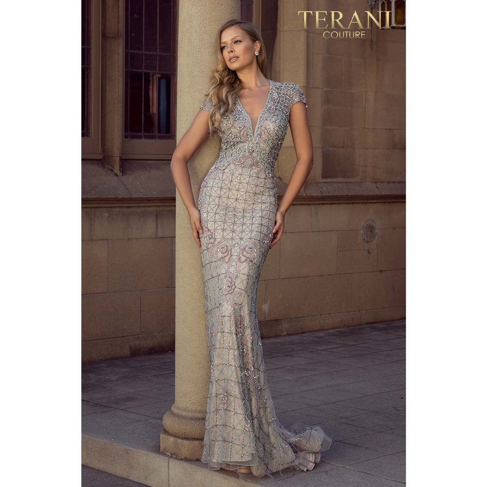 Terani Couture Dress V – neckline full body bead detailed pageant gown – 2011GL2206