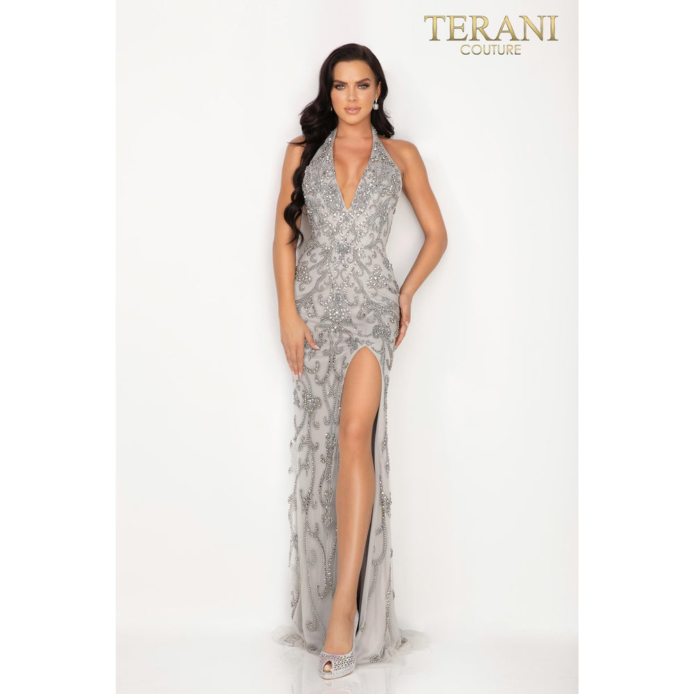 Terani Couture Evening Dress Swirling beaded halter V – neck evening gown with a high slit – 2012P1463