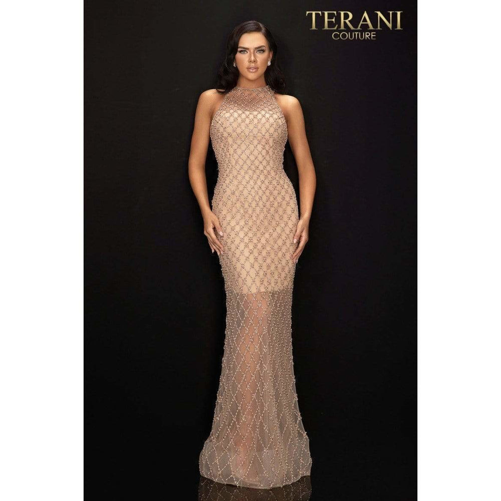 Terani Couture Evening Dress Terani Couture - 2012GL2375 Lattice Beaded Illusion Halter Long Dress