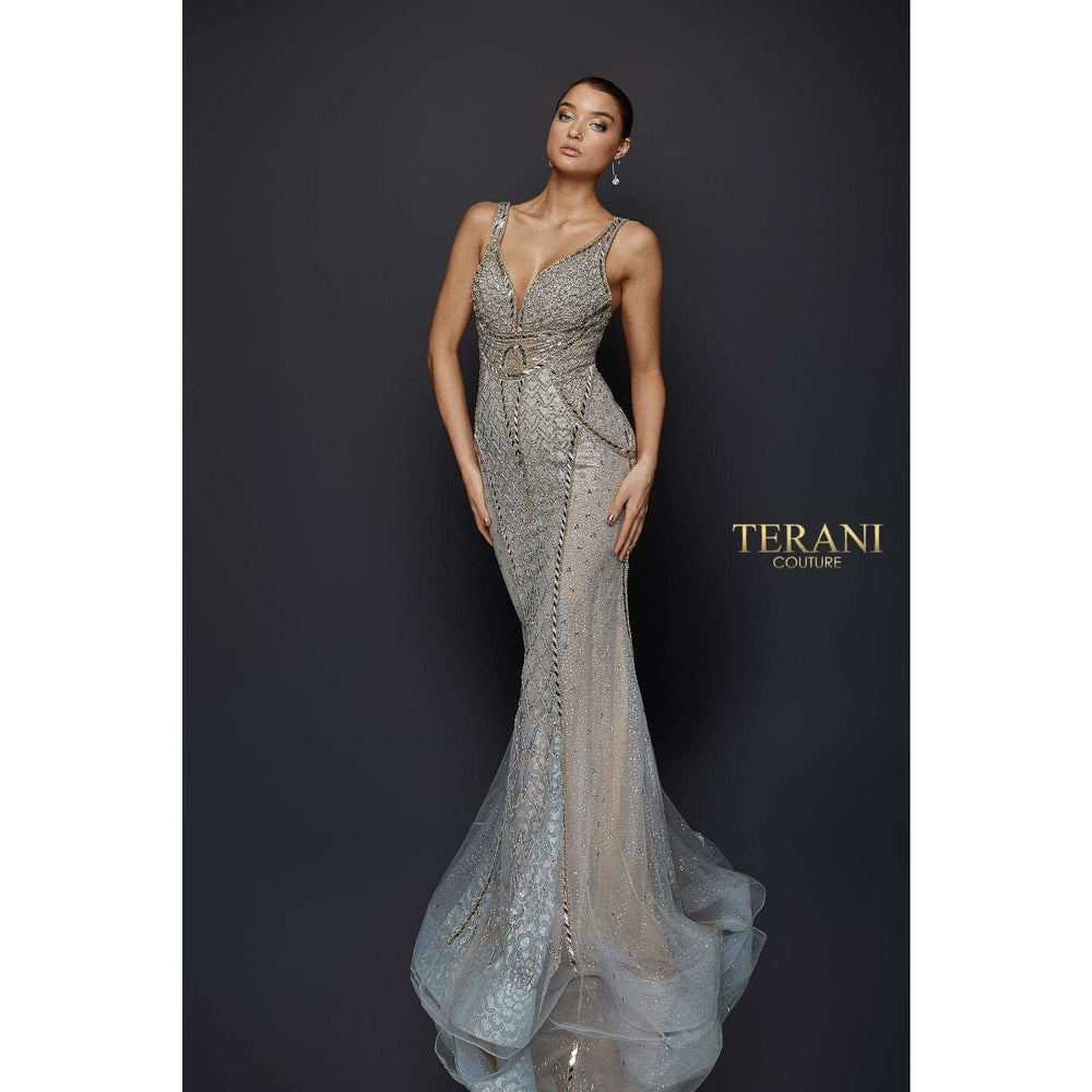 Terani Couture evening gown littering Glass Bead Gown with Form Fitting Body – 1921GL0621