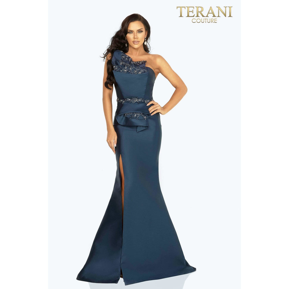 Terani Couture evening gown Mikado one shoulder bead detailed evening gown with slit – 2011E2103
