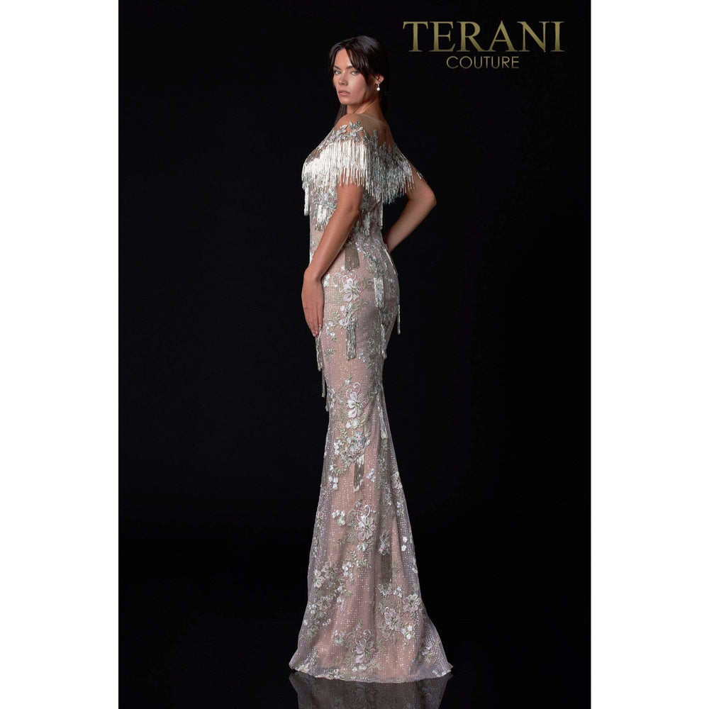 Terani Couture Evening Gown Terani Couture 2111GL5036 Silver Sage Blush Pageant Gown With Beaded Fringe
