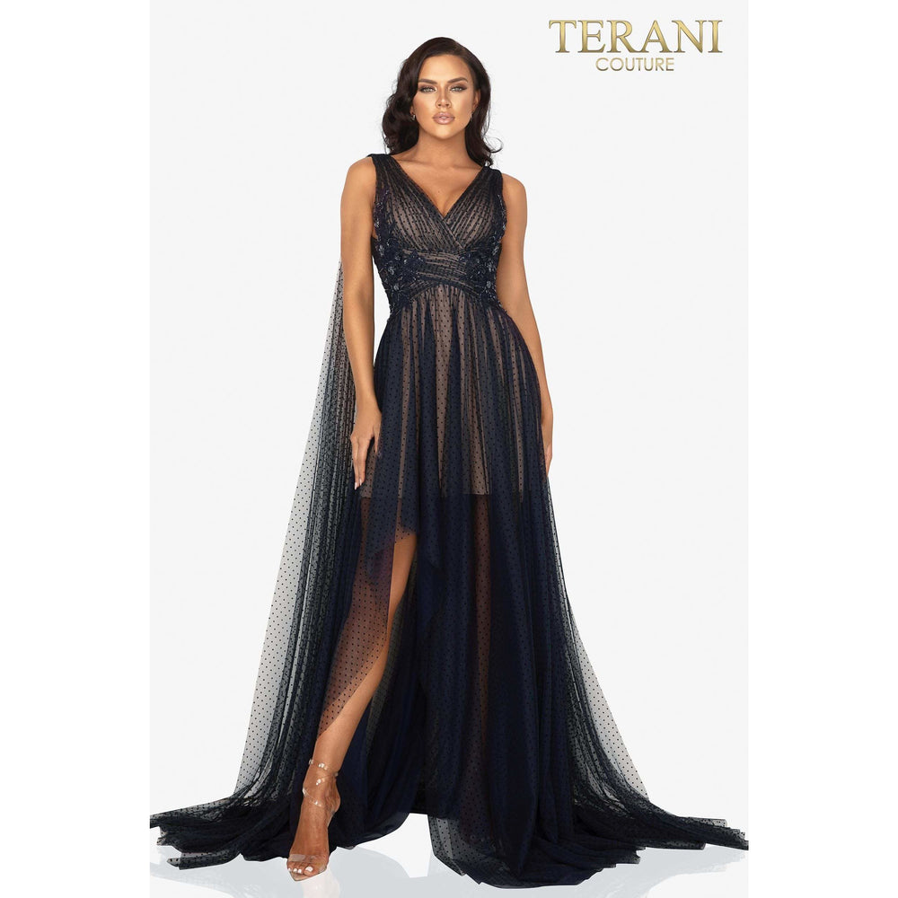 Terani Couture Evening Gowns Dainty rouched dotted tulle evening gown with shoulder trains – 2012E2273