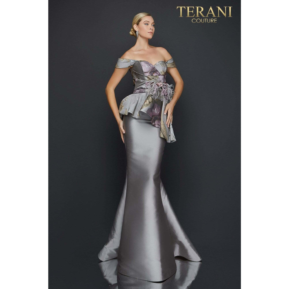 Terani Couture Evening Gowns Off shoulder printed Jacquard trumpet evening gown – 2011E2425
