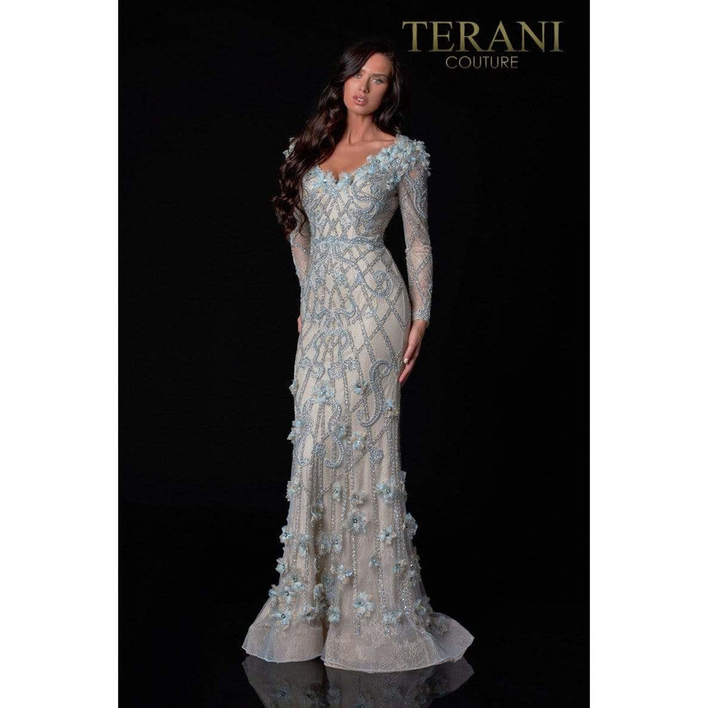 Terani Couture Evening Gowns Terani Couture 2111GL5021 Long Sleeve Crystal Beaded Lace Gown