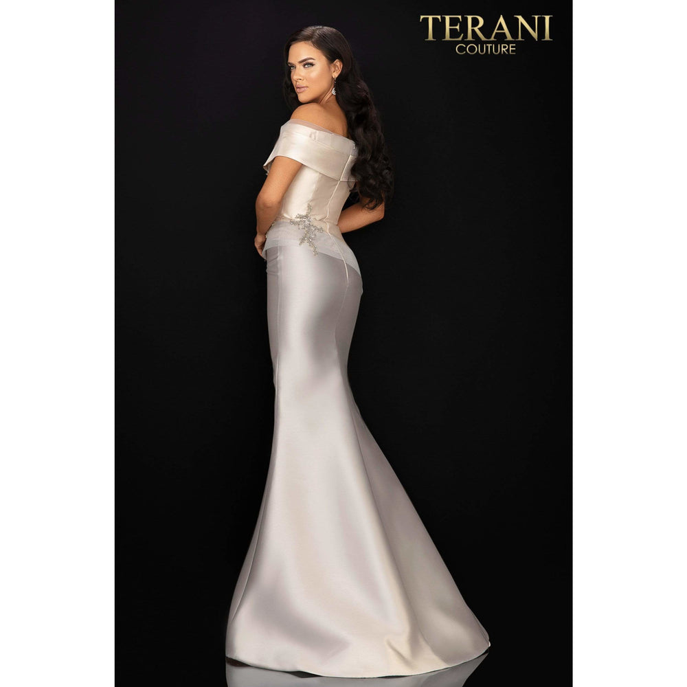 Terani Couture Evening Gowns Two tone off shoulder Mikado Mother of Bride gown – 2011M2159