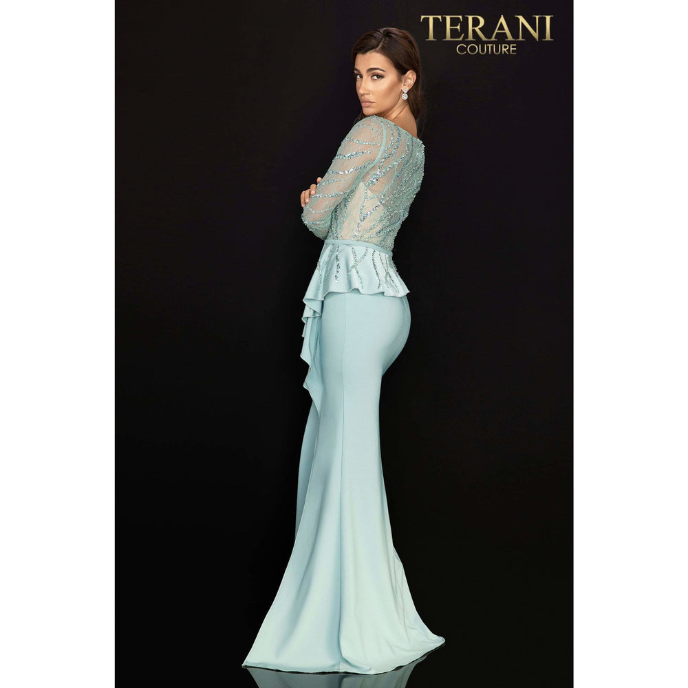 Terani Couture mother of bride dress Long sleeve Mother of Bride gown with peplum – 2011M2116