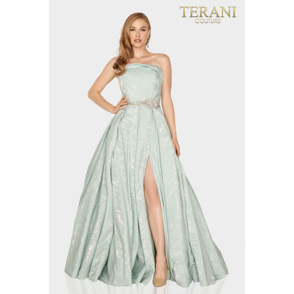 Terani Couture mother of bride dress Strapless Suede fabric Mother of Bride gown with pleated slit skirt – 2011M2127