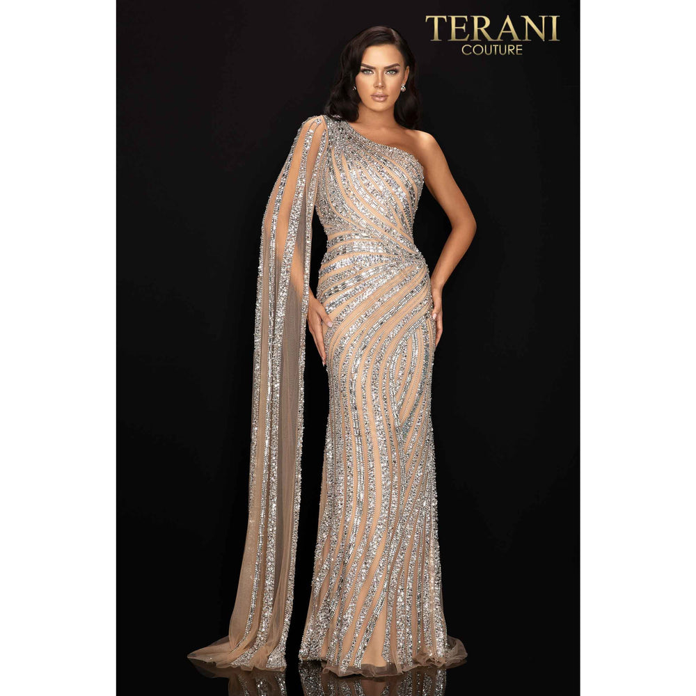 Terani Couture pageant gown Asymmetrical beaded one shouldered cape pageant gown – 2012GL2390