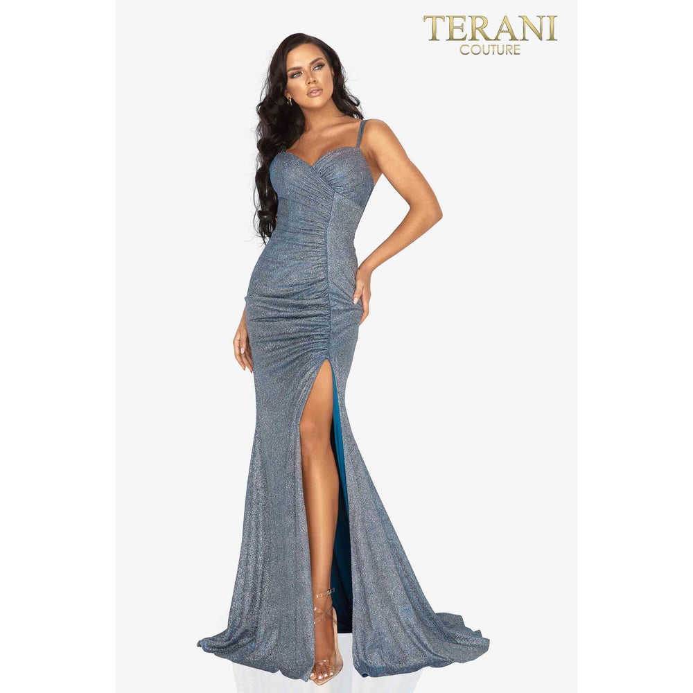 Terani Couture Prom Dress Ruched metallic sweetheart prom dress with slit – 2011P1116