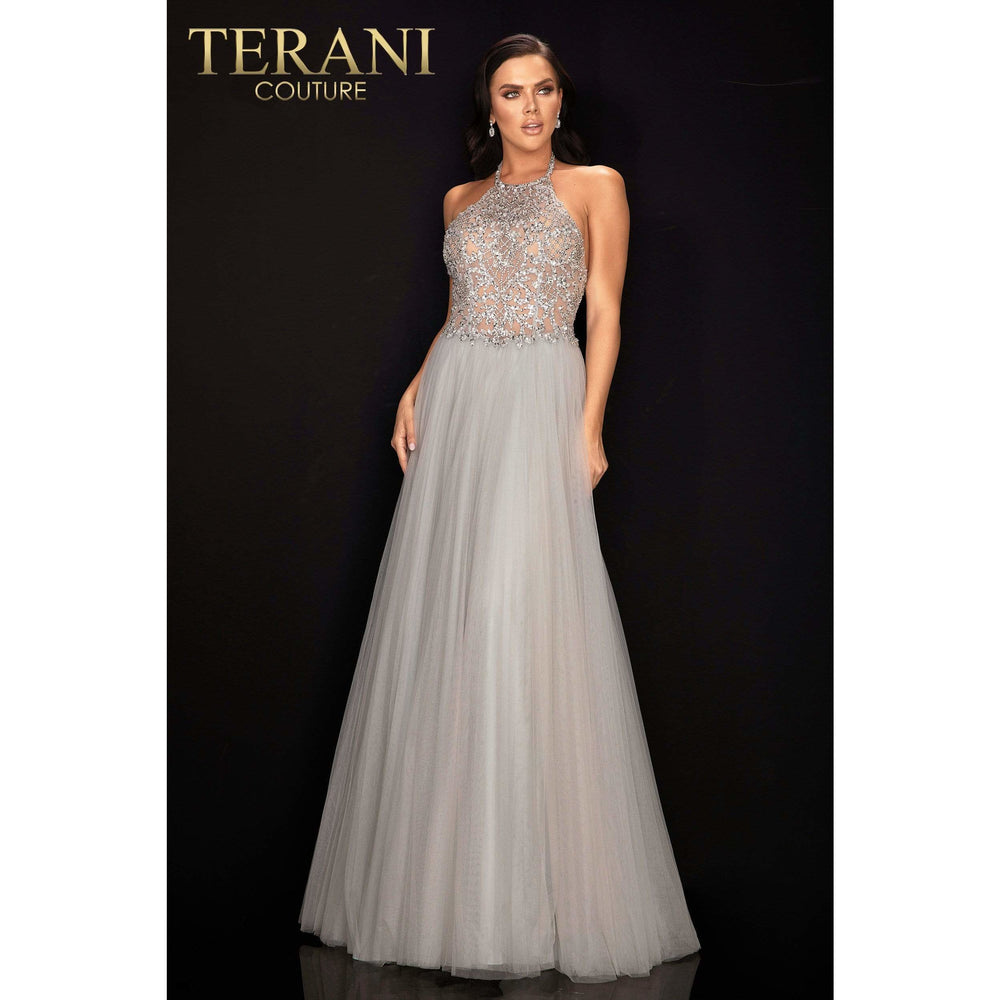 Terani Couture prom gown Crystal beaded halter neck ball gown – 2011P1199