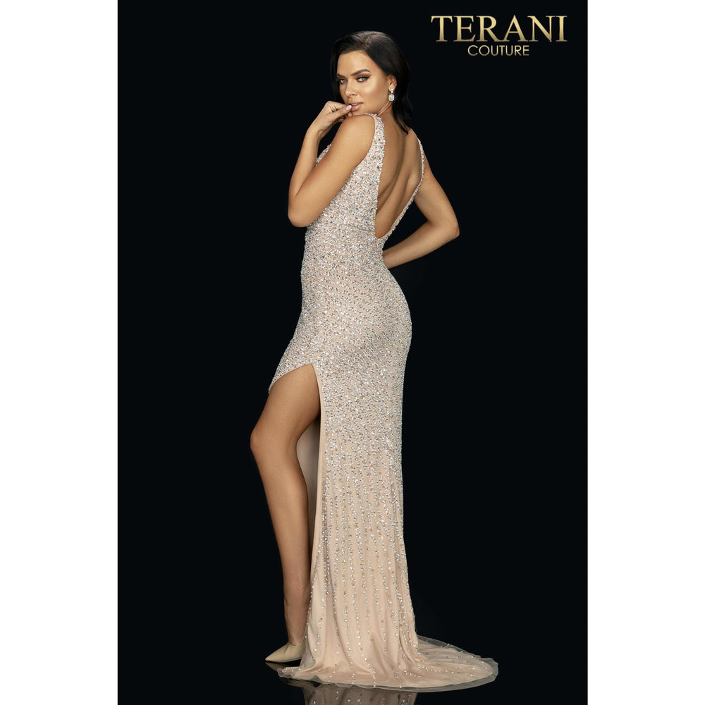 Terani Couture prom gown Sexy form fitting beaded prom gown with high slit – 2011P1460