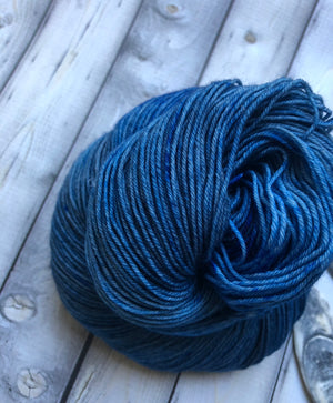 solid blue yarn