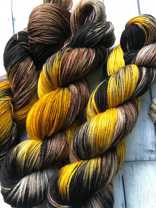 hand dyed fall sock yarn