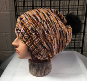 Big Head Beanston Pom Pom Slouch Hat - Lonely Thoughts Collide