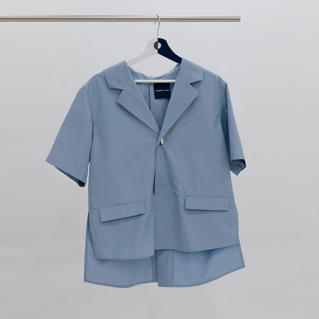 POLLY SHIRT Livid Blue - JUNSEIWAN