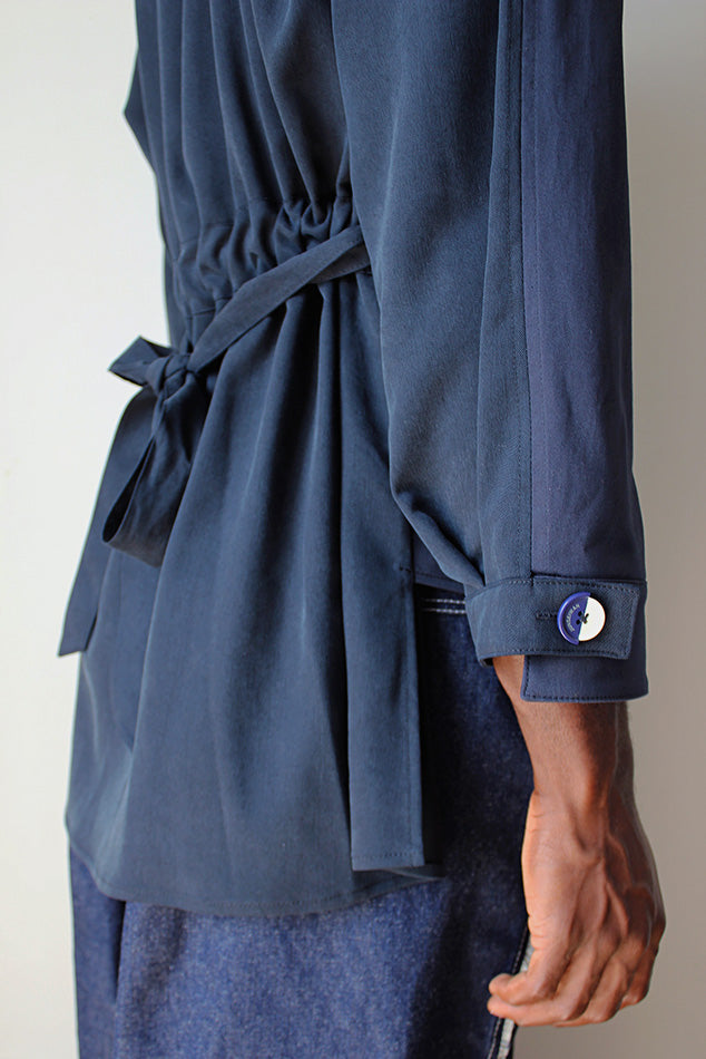 SHEENY SHIRT Navy - JUNSEIWAN