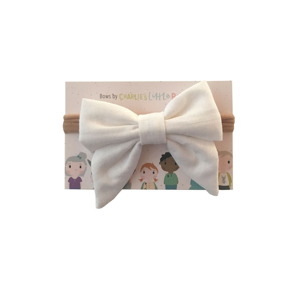 Pure white hairbow on nylon headband