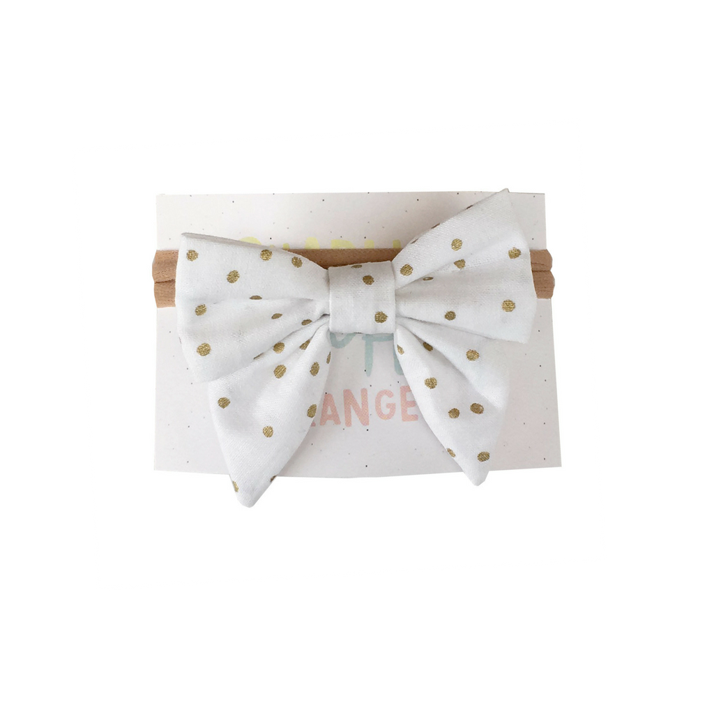 White hairbow with tiny golden dots