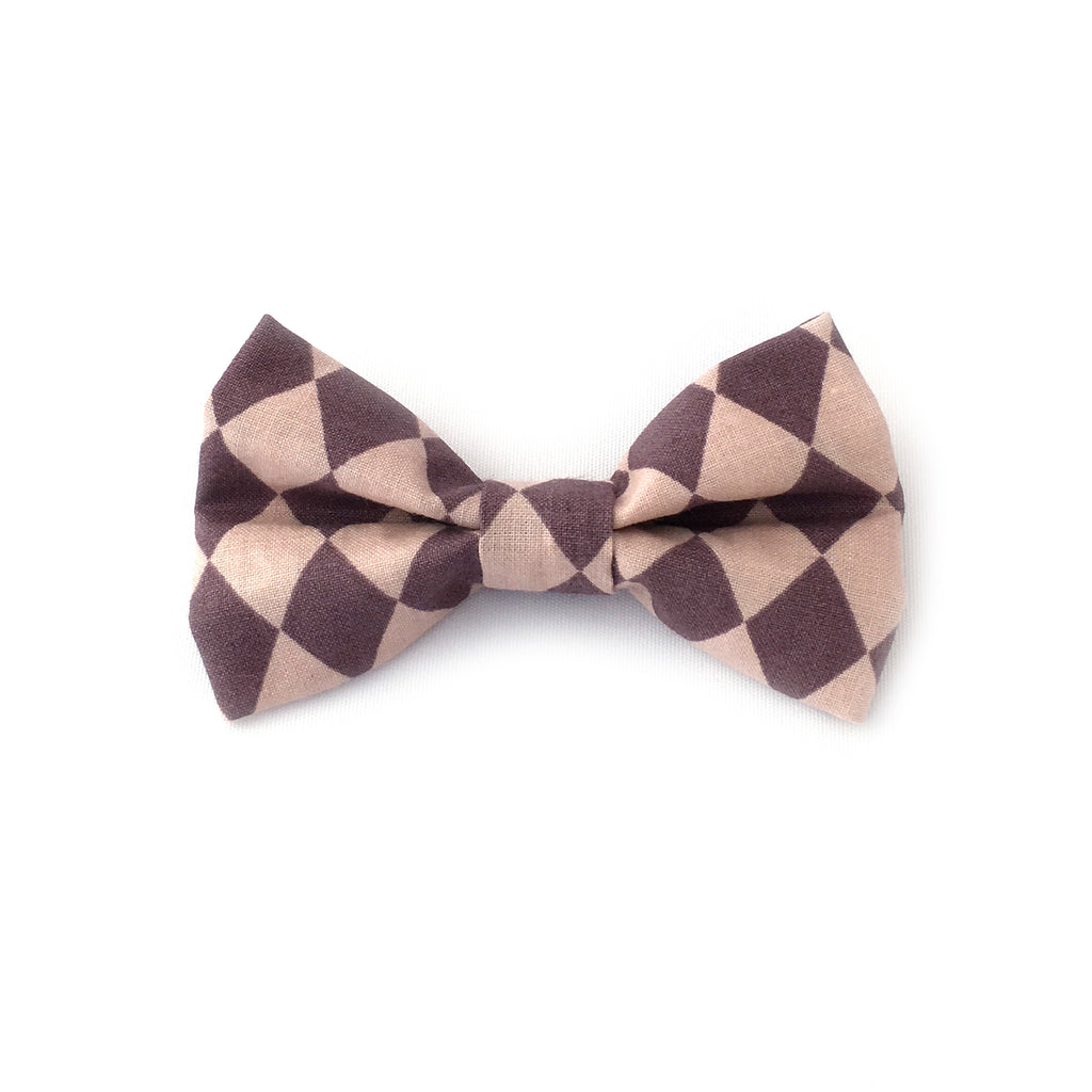 Bowtie in Harlequin print Purple