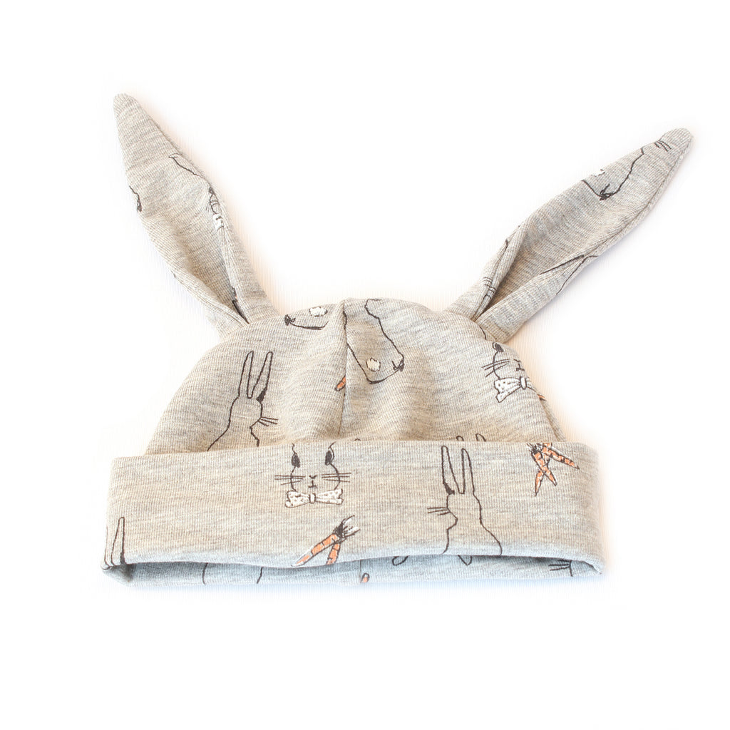 Bunny rabbit beanie hat in grey jersey