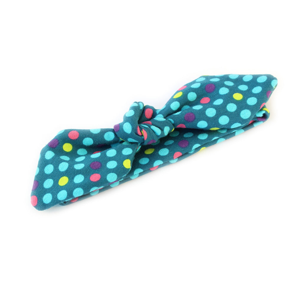 Knot-bow Headband | Green Dots