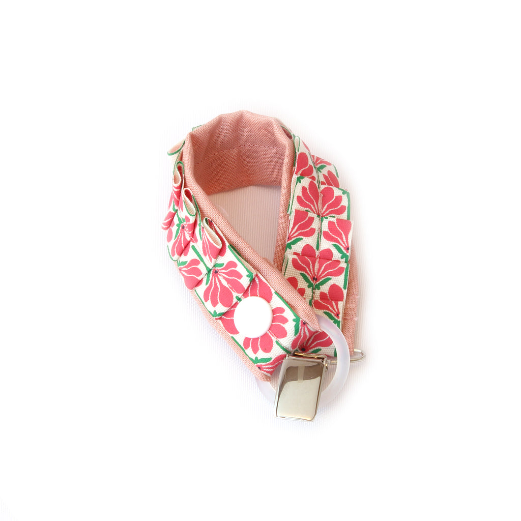 Binky leash with ruffle and floral in pink