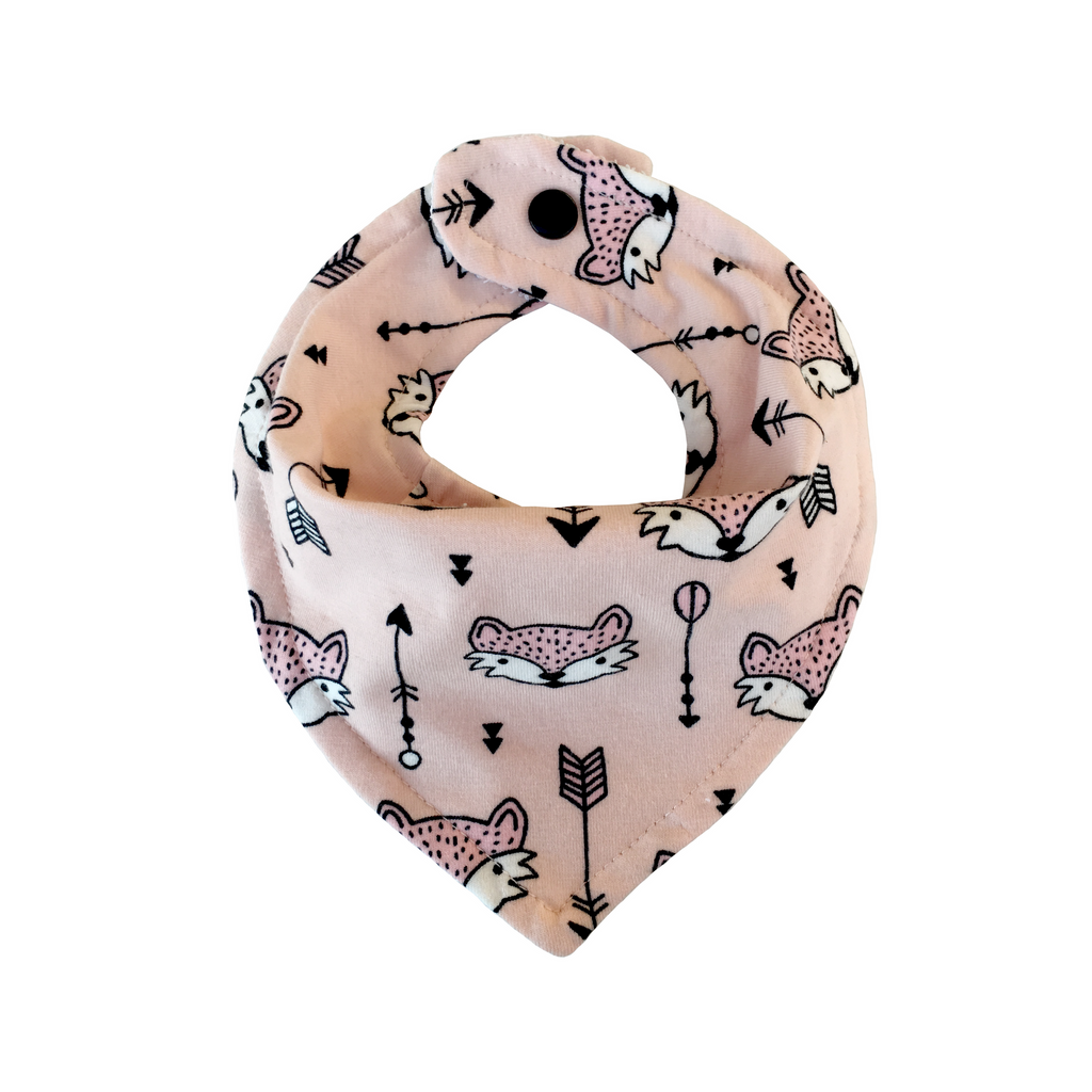 Bandana drool bib with pink fox