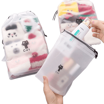 Trousse de toilette transparente chat