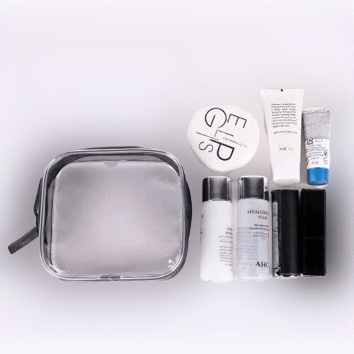 mini trousse de toilette transparente