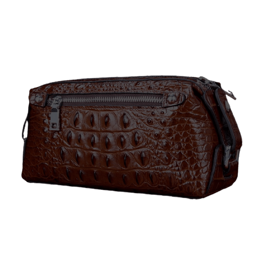 Trousse de toilette cuir dragon marron